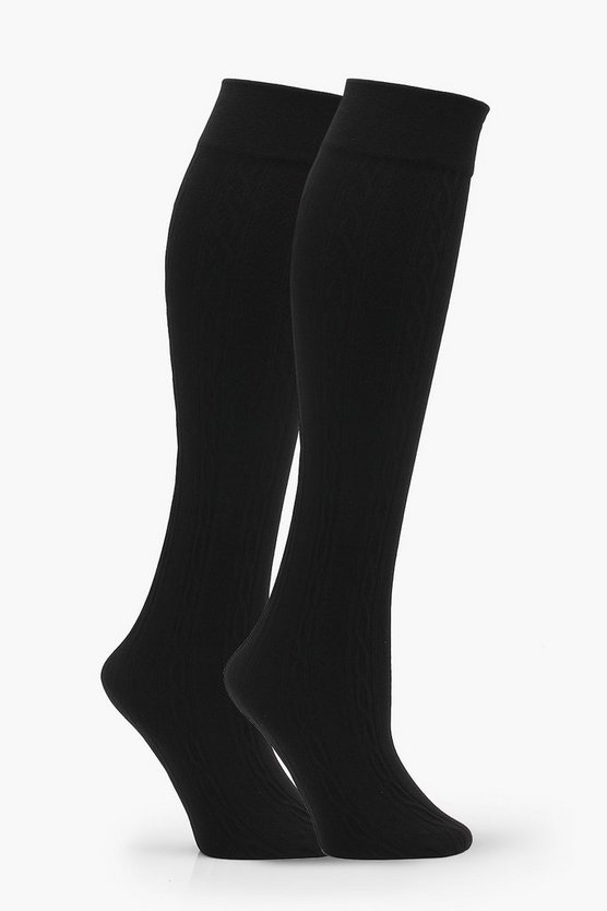 Tia 2 Pack Cable Knit Thermal Knee High Socks