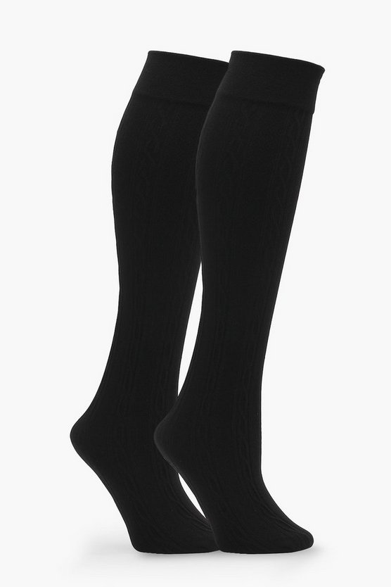 Ava 3 Pack Cable Knit Thermal Knee High Socks
