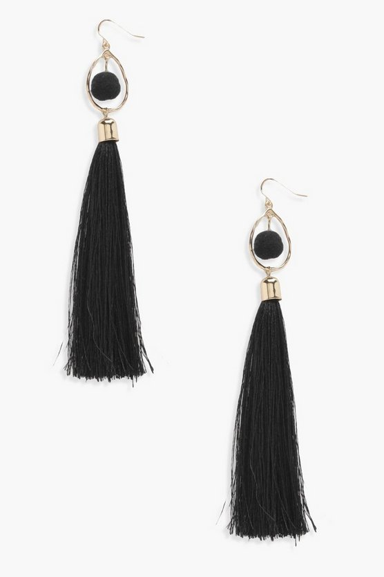 Pom and Long Tassel Earrings