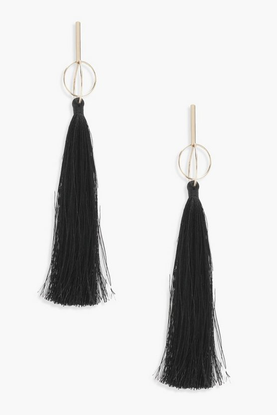 Leah Bar and Long Tassel Earrings
