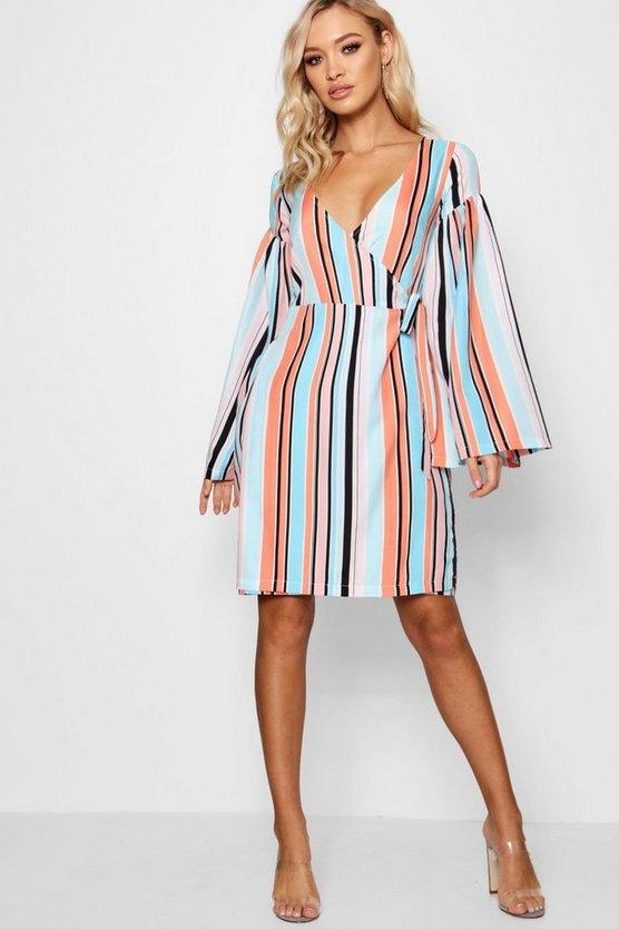 Tall Faith Wide Sleeve Stripe Shift Dress