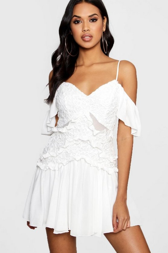 Boutique Talia Lace and Pleated Skater Dress