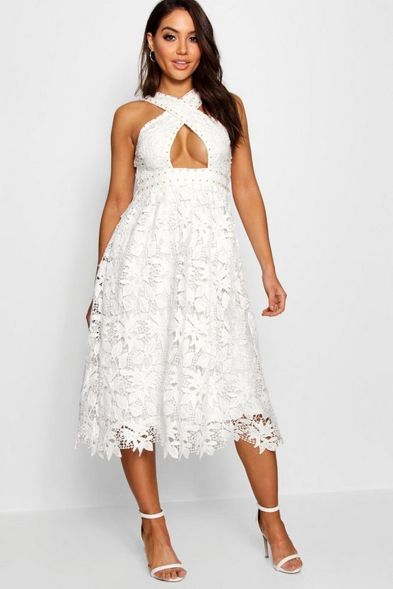 Boutique Lace Cut Out Detail Skater Dress