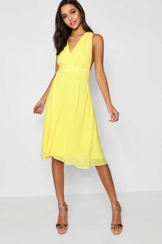 Boutique Iva Chiffon Wrap Midi Skater Dress