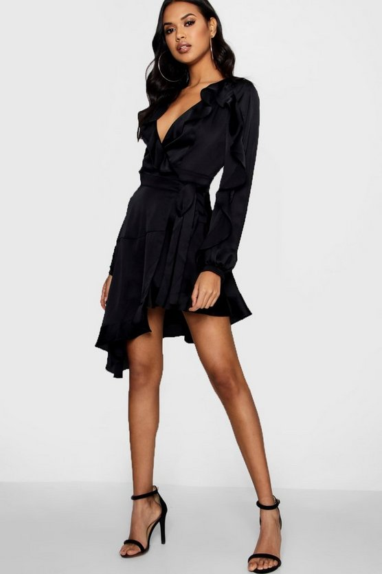 Boutique Fay Satin Ruffle Asymmetric Dress