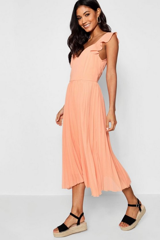 Boutqiue Ruffle Pleated Midi Skater Dress