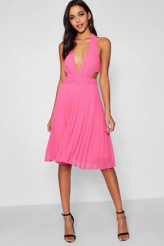 Boutique Plunge Neck Cut Out Skater Dress