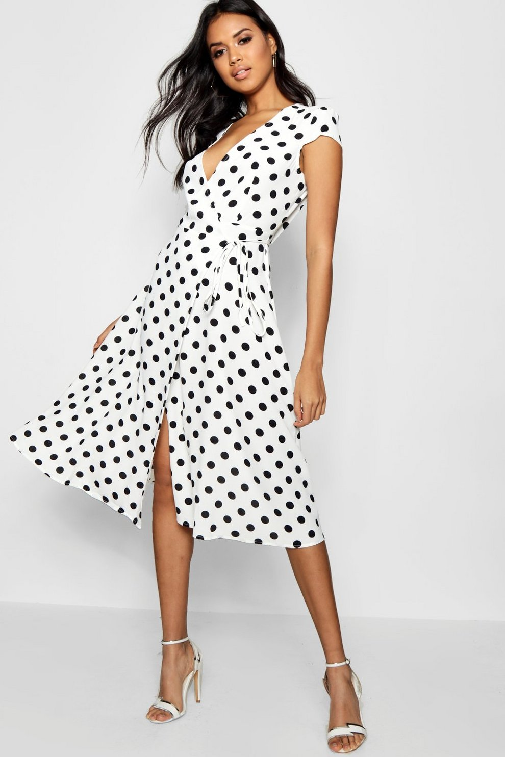 Boutique Olivia Polka Dot Wrap Dress