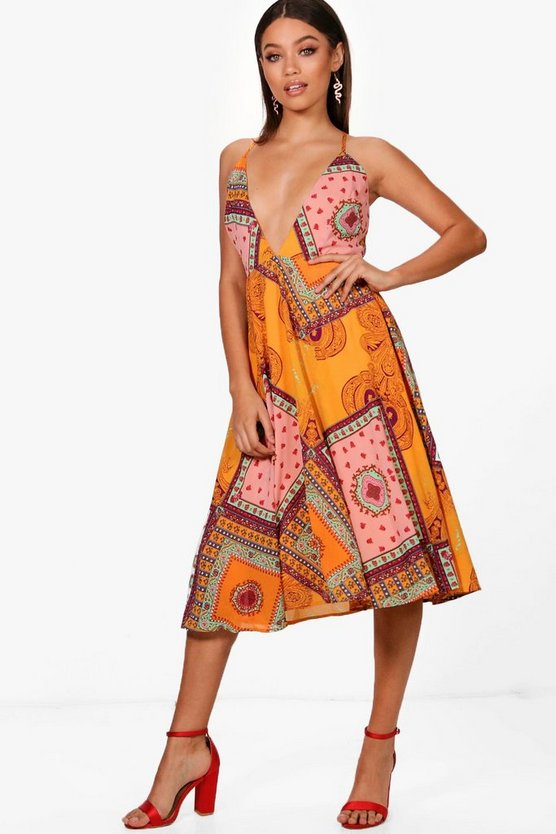 Boutique Jian Scarf Print Plunge Skater Dress