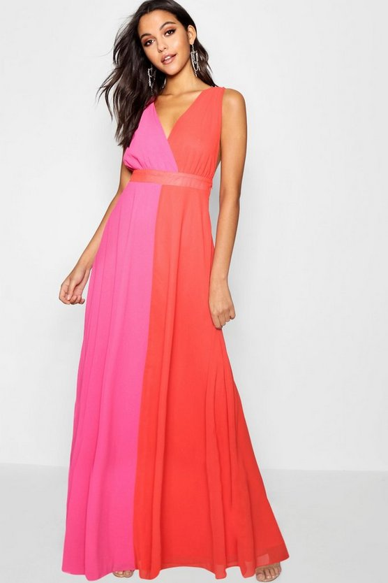 Boutique Maisy Contrast Collar Maxi Dress