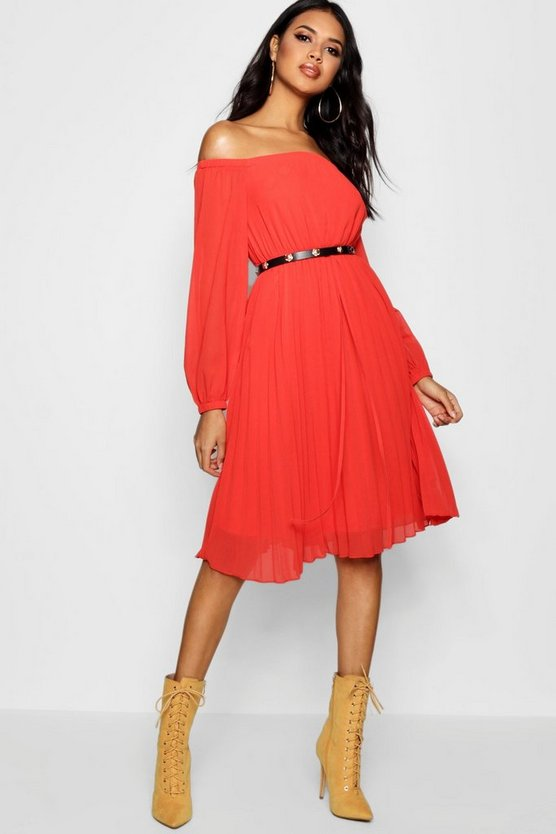 Boutique Off the Shoulder Midi Skater Dress