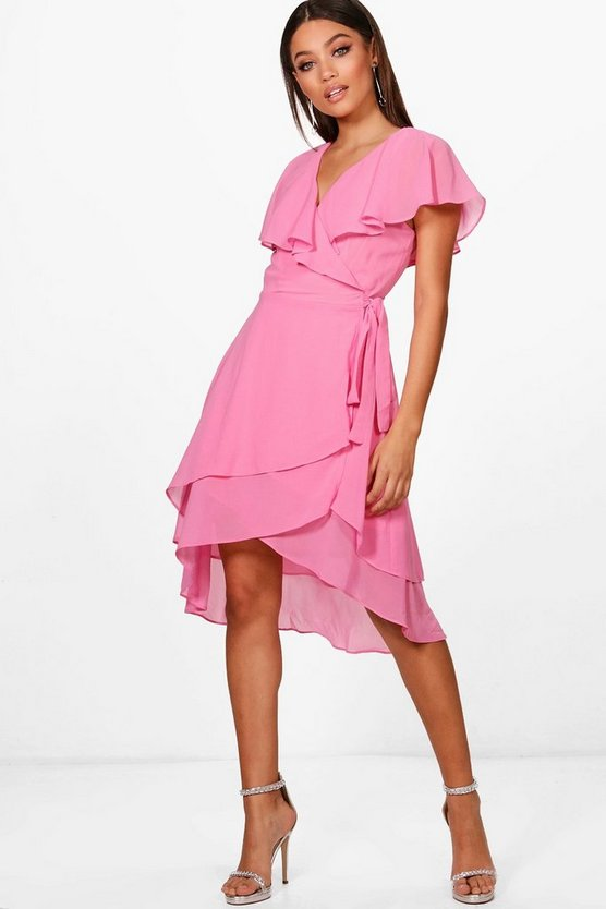 Boutique Sian Ruffle Wrap Midi Skater Dress