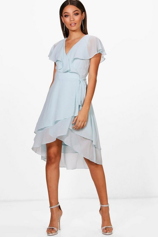 Boutique Ruffle Wrap Midi Skater Dress
