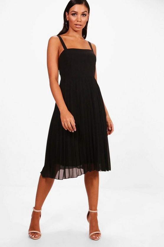 Square Neck Pleated Skater Dress