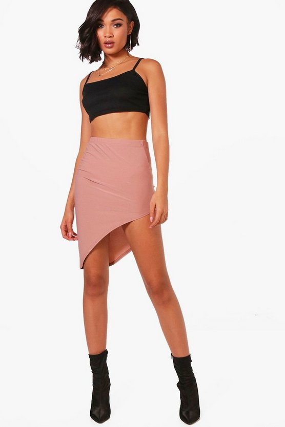 Hayley Crepe Super Split Asymetric Mini Skirt