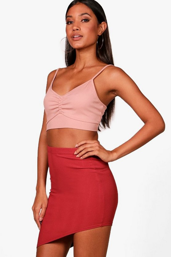 Dawn Ribbed Basic Asymetric Hem Mini Skirt