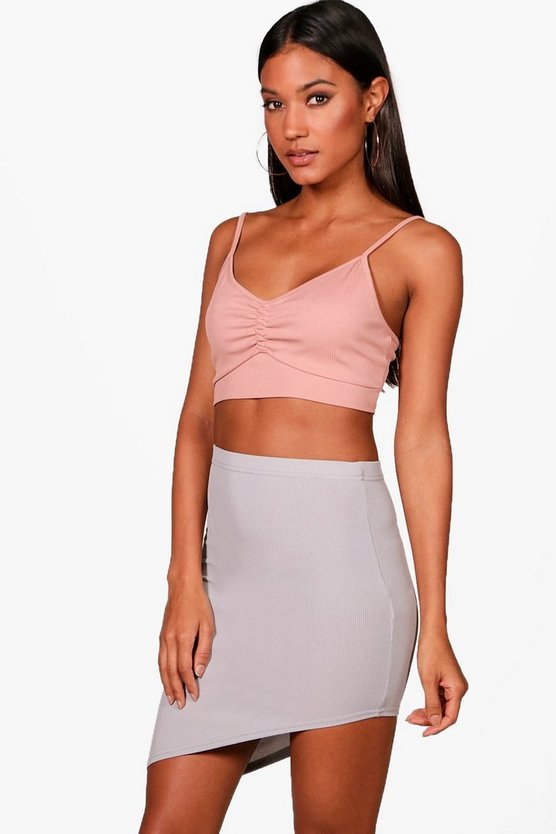 Ribbed Basic Asymetric Hem Mini Skirt