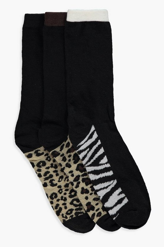 Erica Animal Print Sole 3pk Ankle Socks