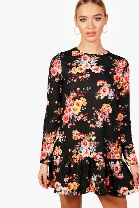Joy Floral Long Sleeve Drop Hem Shift Dress