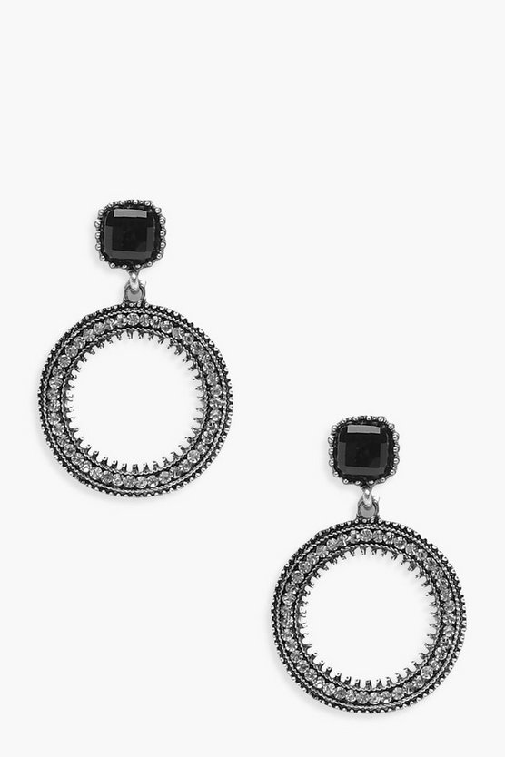 Emma Black Gem Top Diamante Hoop Earrings