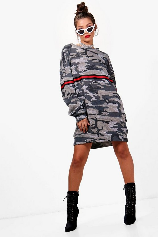 Lauren Camo Stripe Sweat Dress