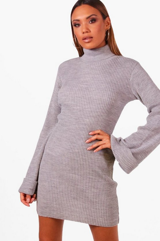 Katie Wide Sleeve Roll Neck Jumper Dress