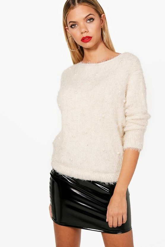 Faye Fluffy Pearl Embellished Jumper