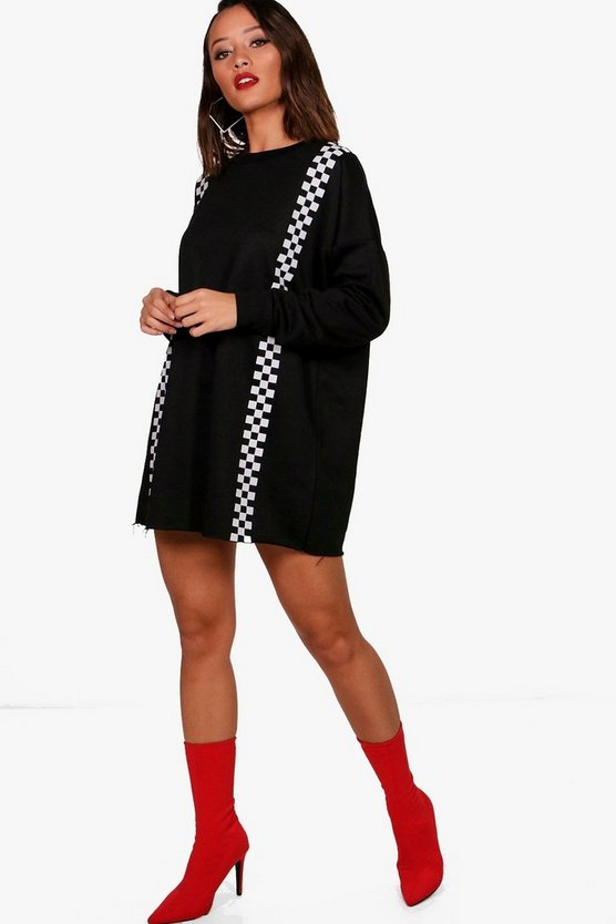 Tia Athleisure Check Stripe Sports Dress