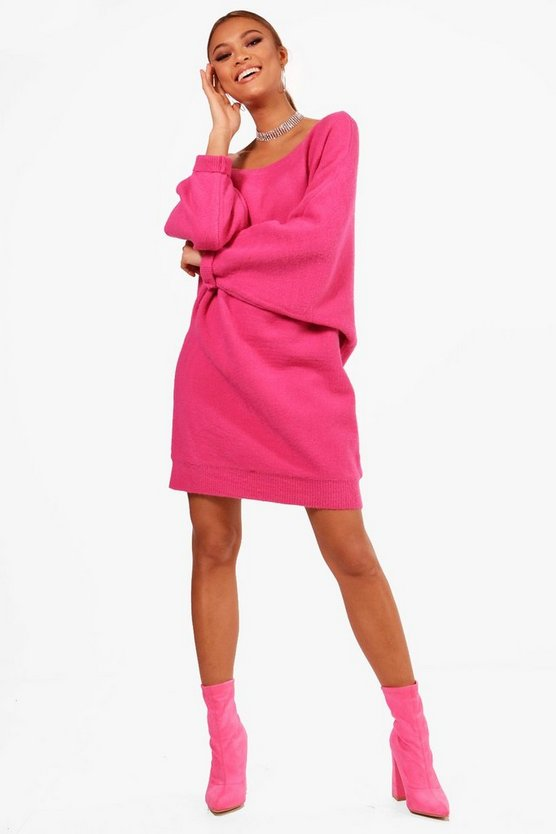 Samantha Slash Neck Oversized Slouchy Soft Knit Dress
