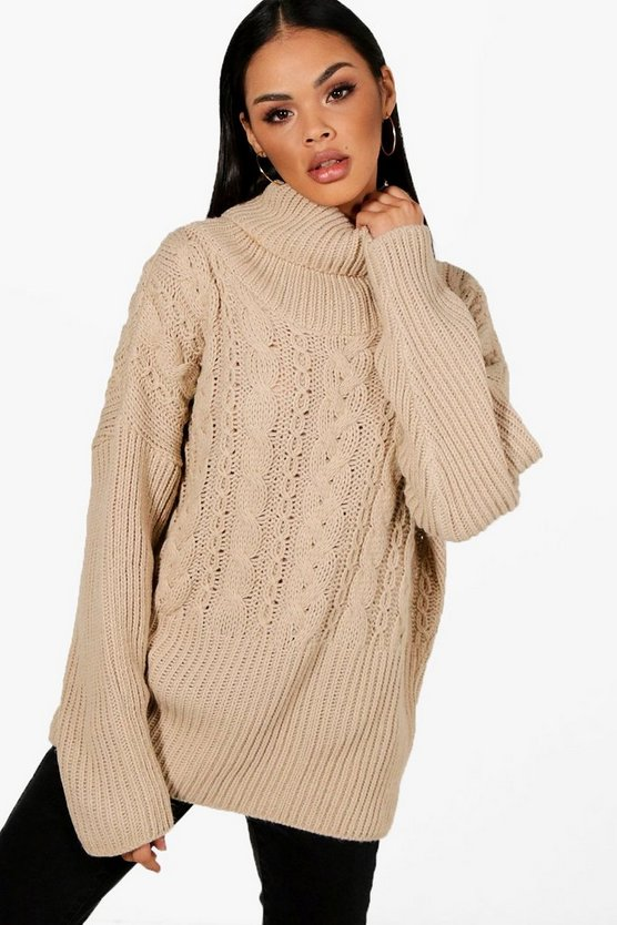 Ruby Roll Neck Cable Knit Jumper