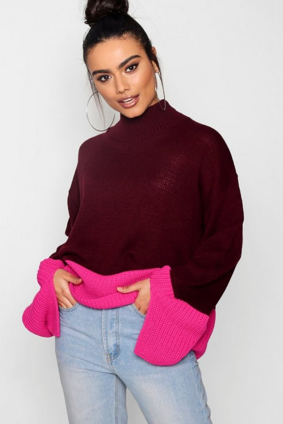 Colourblock Funnel Neck Oversized Jumper