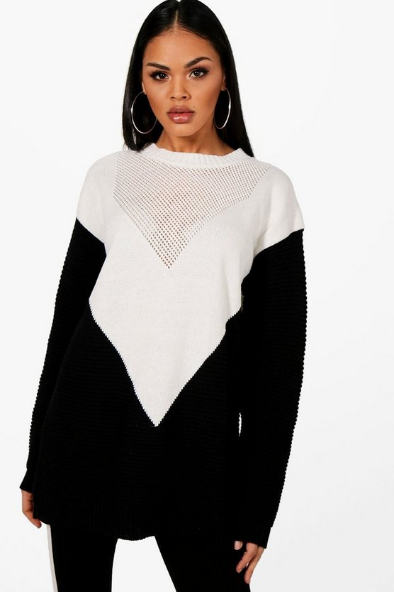 Ivy Colour Block Chevron Knitted Oversized Jumper