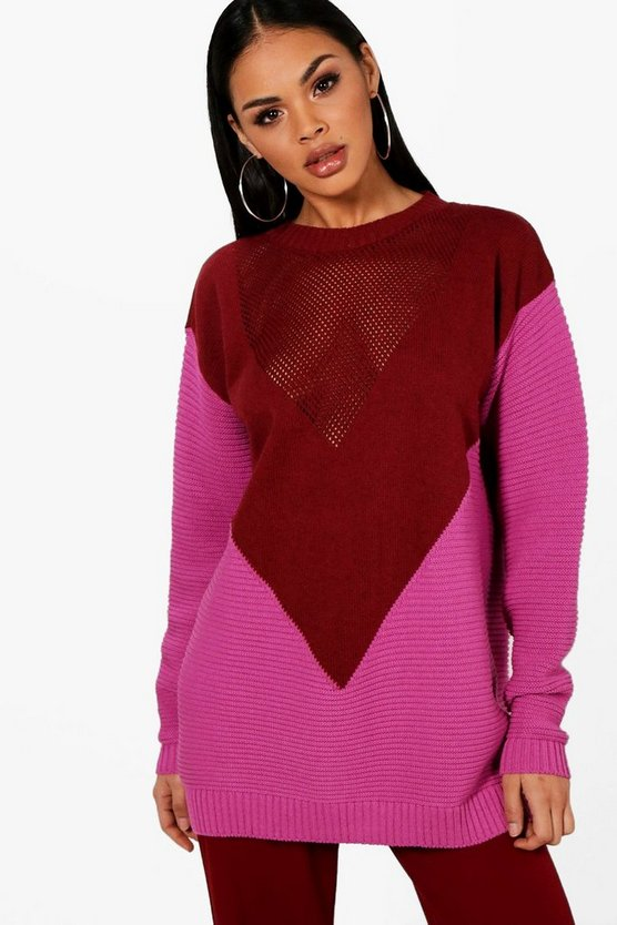 Colour Block Chevron Knitted Oversized Jumper