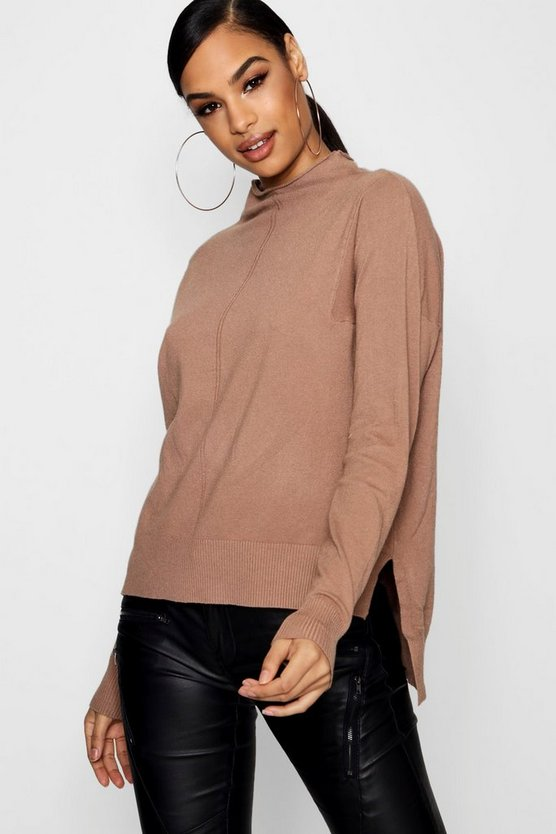 Lily Soft Knit Dip Hem Polo Neck