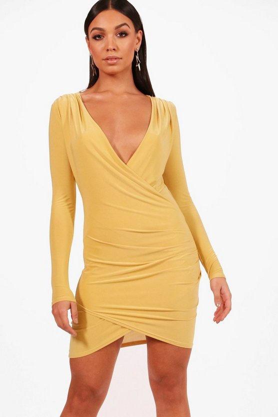 Eli Slinky Drape Front Bodycon Dress