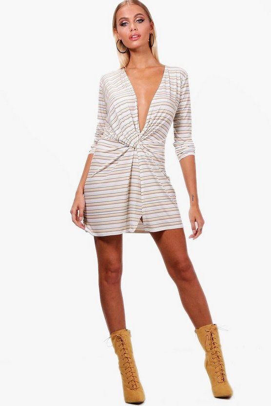 Kristine Stripe Knot Front Micro Mini Bodycon Dress