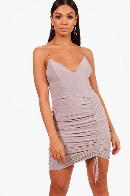 Slinky Ruched Detail Bodycon Dress