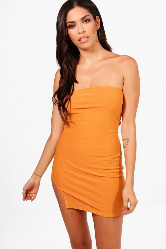 Lydia Bandeau Thigh Split Bodycon Dress