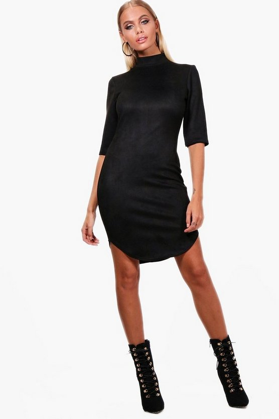 Suedette Curved Hem Bodycon Dress