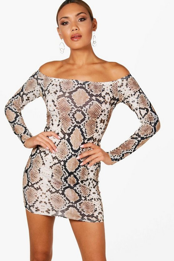 Snake Print Bardot Bodycon Dress