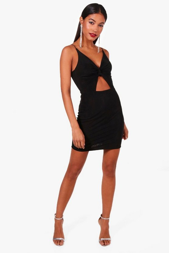 Lottie Slinky Knot Front Micro Mini Bodycon Dress