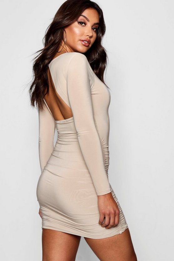 Slinky Ruched Side Open Back Micro Mini Bodycon Dress