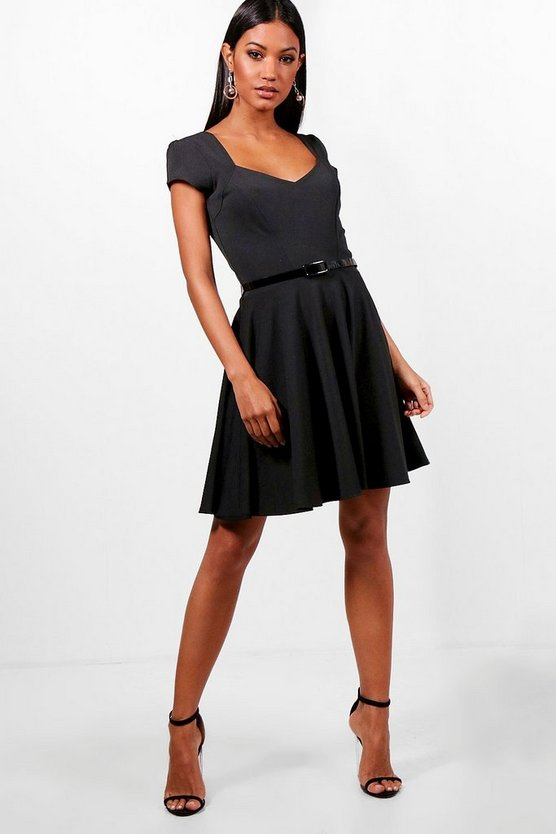 Lara Sweetheart V Neck Skater Dress