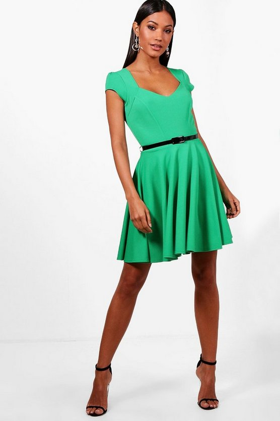 Sweetheart V Neck Skater Dress