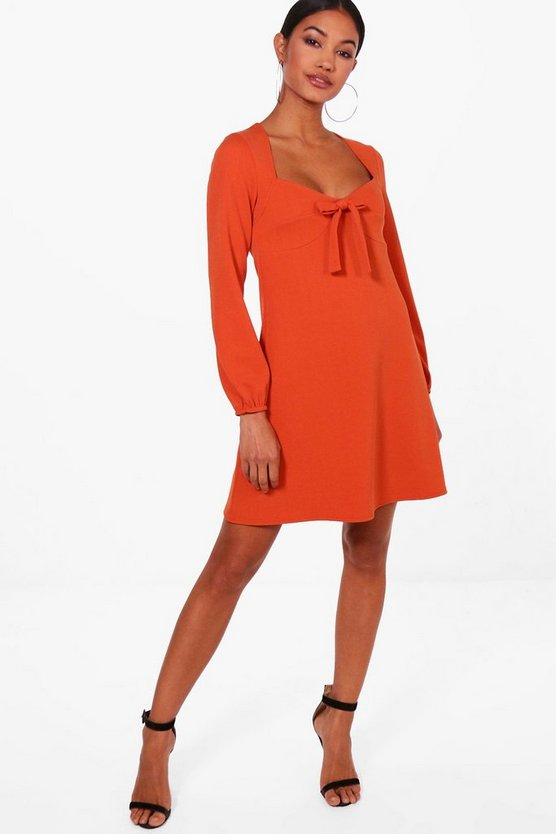 Tie Front Blouson Sleeve Skater Dress
