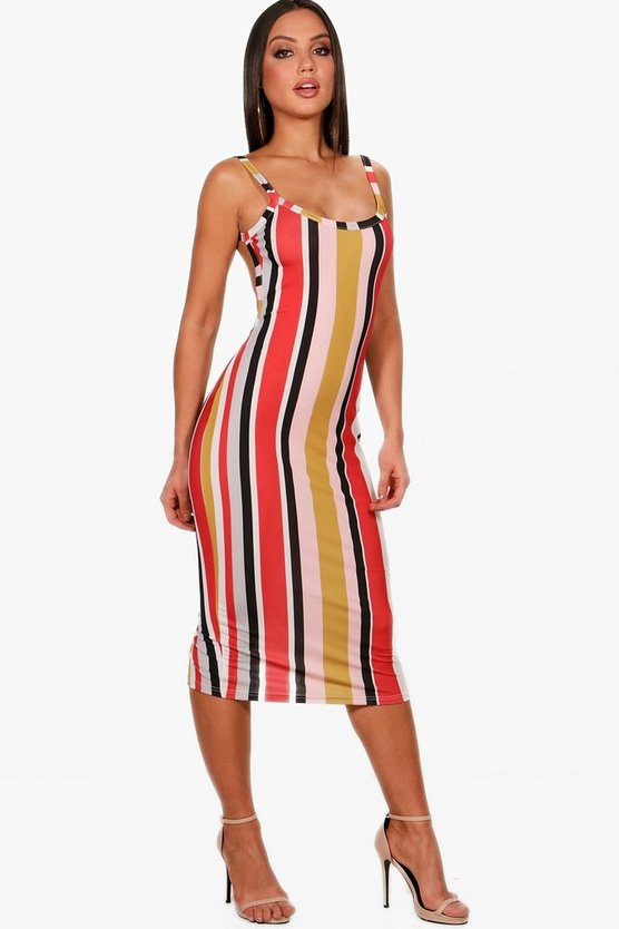 Alisha Stripe Strappy Open Back Midi Dress