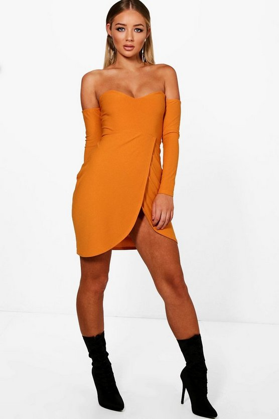 Fi Sweetheart Off Shoulder Wrap Midi Dress