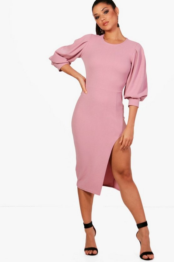 Puff Sleeve Thigh Split Midi Dress