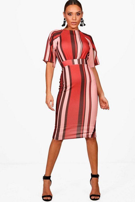Beau Split Sleeve Stripe Wiggle Detail Midi Dress
