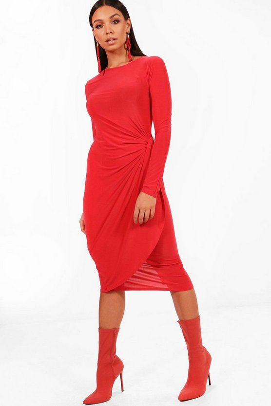 Knot Detail Midi Dress